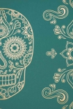 detail image of Day of the Dead Skull Wallpaper - Emerald & Gold gold tones skull design on emerald green blue background repeated pattern