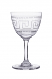 cutout image of Set Of 6 Vintage Style Crystal Liqueur Glasses - Greek Key on white background