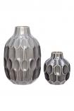 cutout image of Set Of 2 Grey Honeycomb Print Vases on white background