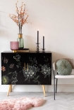 Lifestyle image of the Hand-Painted Dark Florals Sideboard on a white background
