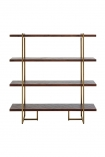 Front-on image of the Herringbone Style Dark Wood & Antique Brass 4-Shelf Unit on a white background