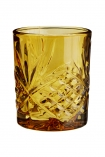 cutout image of Old Fashioned Crystal Style Tumbler - Amber on white background
