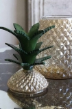 Close-up image of the Glass Pineapple Storage Vase With Lid with the lid off