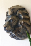 Close-up angled image of the Gold Art Deco Lion Head Wall Decoration