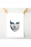 lifestyle image of Masked 4 Art Print By Amber Devetta blue distressed woman's face hung with wooden pegs on string