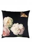 Peony Roses & Moth Velvet Cushion