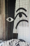Detail Image of Black and White Bamboo Door Curtain at the home of Dee Campling
