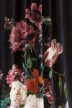 Black Floral Velvet Curtain