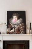 Pink Bubblegum Queen Portrait Canvas on mantelpiece in the Home of Sally Faye