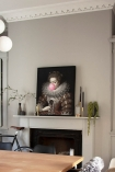 Pink Bubblegum Queen Portrait Canvas in the Home of Sally Faye