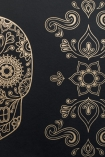 detail image of Day of the Dead Skull Wallpaper - Gold & Black gold skull design on black background repeated pattern