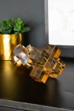 Lifestyle image of both sizes of the Amber Crystal Cubes Decorative Ornament
