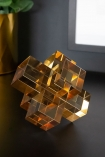 Lifestyle image of the large Amber Crystal Cubes Decorative Ornament
