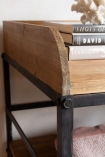 Close-up image of the top wooden shelf on the Antique French-Style Shelf Unit / Console Table
