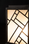Close-up of the detailing on the Art Deco Lantern Design Table Light switched on