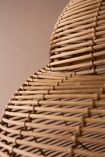 Close-up image of the rattan detail & shape on the Beautiful Spiral Shell Shaped Rattan Ceiling Light