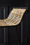 Close-up of the back on the Black Framed Natural Rattan Bar Stool