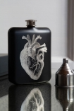Image of the Black Hip Flask With Laser Etched Heart