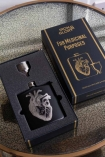 Image of the Black Hip Flask With Laser Etched Heart in the presentation box
