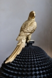 Close-up of the parrot on the lid of the Black Spiked Ball Storage Jar With Gold Parrot with the lid on
