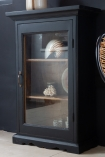 Lifestyle image of the Black Wooden Glass Display Cabinet