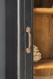 Close-up image of the handle of the Black Wooden Glass Display Cabinet