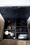 Birdseye image of inside the Bureau-Style Black Mango Wood Bedside Table with the lid open