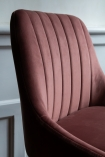 Side angle close-up image of the Rose Pink Casino Velvet Bar Stool