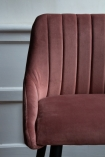 Front on close-up image of the Rose Pink Casino Velvet Bar Stool