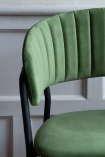 Close-up of the material on the Curved Back Velvet Bar Stool In Moss Green