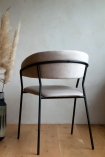 Image of the back of the Curved Back Velvet Dining Chair In Mink Grey