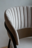 Close-up image of the Curved Back Velvet Bar Stool In Mink Grey