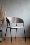 Lifestyle image of the front of the Curved Back Velvet Dining Chair In Mink Grey