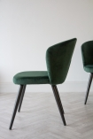 Side angle image of the Rich Green Deco Velvet Dining Chair