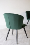 Reverse angle image of the back of the Rich Green Deco Velvet Dining Chair