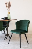 Lifestyle image of the Rich Green Deco Velvet Dining Chair