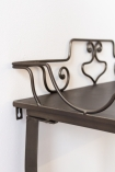 Close-up image of the left hand side of the wire detail on the Distressed Iron Side Table