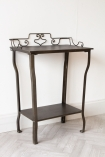Image of the Distressed Iron Side Table With Wire Detail Back with nothing on it
