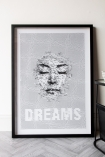 Front-on lifestyle image of the Framed Dreams Typography Art Print