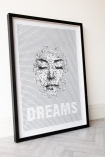 Angled image of the Framed Dreams Typography Art Print