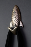Image of the Fish Coat Hook with a bag hanging on it