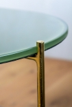Close-up of the table top on the Forest Green Oval Marble & Brass Coffee Table
