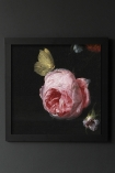 Image of the Framed Dark Rose Art Print hanging on the wall
