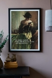 Lifestyle image of the Framed My Hobbies Include... Art Print on a light wall