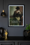 Lifestyle image of the Framed My Hobbies Include... Art Print on a dark wall