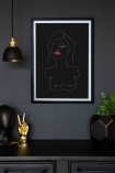 Lifestyle image of the Black Self Portrait Art Print hanging on a wall framed
