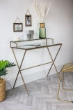 Lifestyle image of the Glass Desk/Dressing Table With Antique Gold Frame