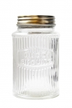 cutout image of Traditional clear ribbed glass storage jar with disco biscuits engraved on a white background