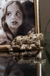 Close-up image of the Leopard on the Gold Leopard Photo Frame