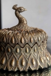 Close-up of the Antique Style Gold Peacock Trinket Box with lid on